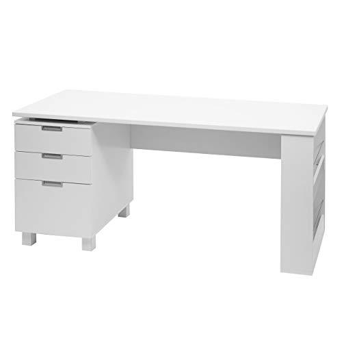 Mendler Scrivania Ufficio Computer HWC-F63 MDF con cassetti 60x150x74cm Bianco