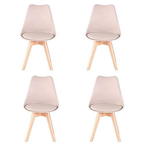 NC56 4er Set Esszimmerstuhl mit gut gepolsterte Kunstleder Kissen und Buchenholz-Beinen Tulpenstuhl für Esszimmer Wohnzimmer Schlafzimmer Küche (Khaki)