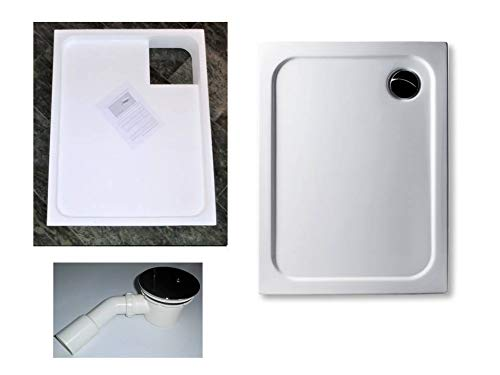 KOMPLETT-PAKET: Duschwanne 110 x 80 cm superflach 2,5 cm weiß Acryl + Styroporträger/Wannenträger + Ablaufgarnitur chrom DN 90