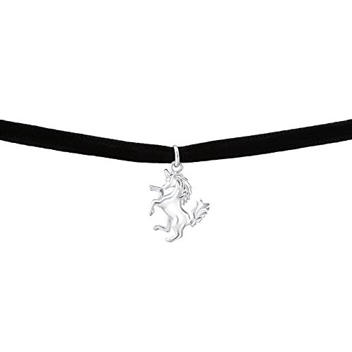 Laimons Choker Collar para mujer Unicornio Brillante Negro Terciopelo Plata de ley 925