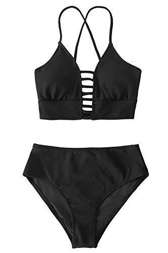 CUPSHE Conjunto de Bikini Mujer Negro Tira Cordones Traje de Baño Dos Piezas, M