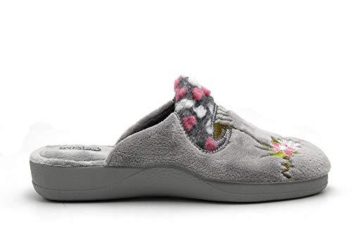 DeValverde - Zapatillas de IR por casa DeValverde destalonadas con cuña, Suela de Goma Antideslizante, para: Mujer Color: Gris Talla:36