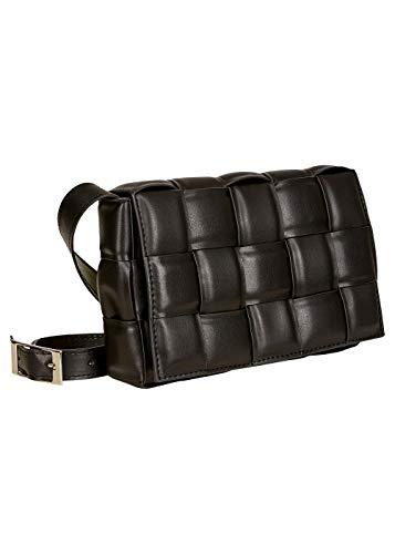 Vestino Bolso de mano para mujer con acolchado y trenzado. Negro E