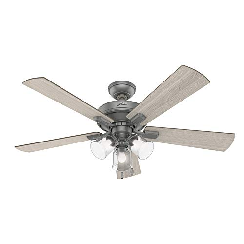 """Hunter Fan Company 51019 Crestfield Indoor Ceiling Fan with LED Light and Pull Chain Control, 52"""", Matte Silver"""