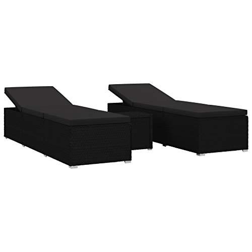 VidaXL 3-delige ligstoel-set Ligstoel, zonnestoel, ligstoel, saunalligstoel, relaxstoel, bijzettafel, tuinmeubelen, poly rotan, zwart