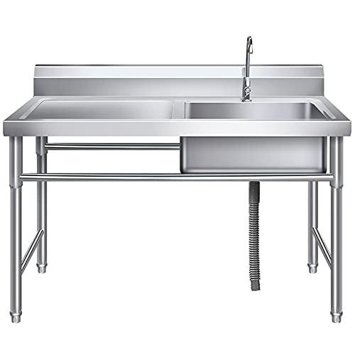 ZHIQ Fregadero Comercial de Acero Inoxidable con Plataforma Operativa, Fregadero de Cocina con Grifo - para Garaje, Restaurante, Cocina, Lavadero, Exterior