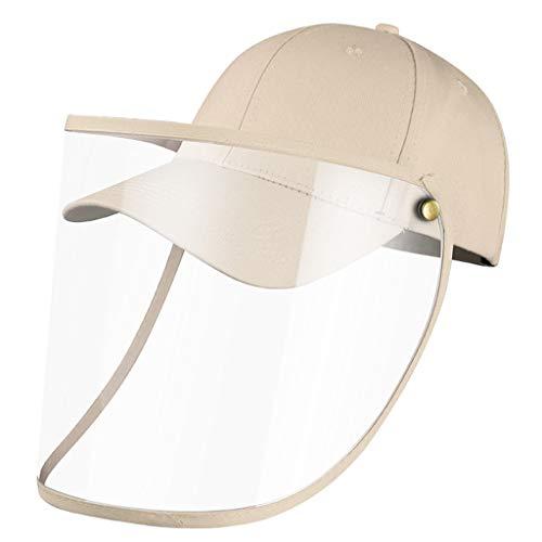 1-1 2Pack Sun Hat Baseball Caps mit abnehmbarem, vollständig klarem Gesichtsschutz, Anti-Fog, Anti-Speichel, Anti-Spitting, faltbar, einstellbar, Unisex, Mehrfarbig,Beige