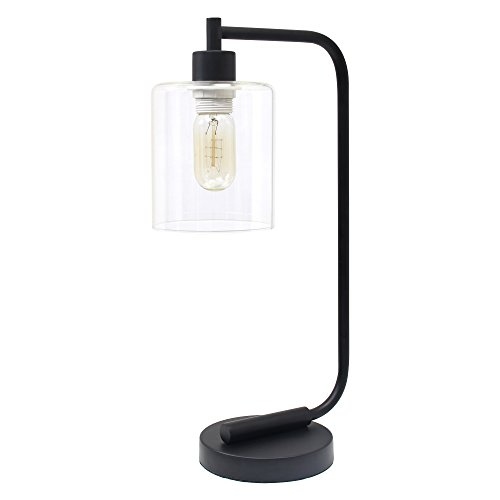 Simple Designs LD1036-BLK, Black Bronson Antique Style Industrial Iron Lantern Glass Shade Desk Lamp