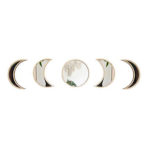 Jroyseter 5 Piezas De Madera Nórdica Estilo Acrílico Luna Espejo con Pantalla De Cambio De Ciclo De Luna Eclipse Lunar Etiqueta Espejo De Pared Decorativo para Sala De Estar Y Dormitorio (Wood Color)