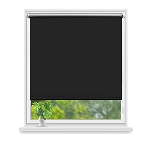 Eurohome Thermo Rollo Verdunkelungsrollo 95X160cm (Stoffbreite 91 cm) Schwarz Klemmfix ohne Bohren für Fenster