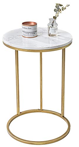 Round C Shaped Side Snack Table Slide Under Couch with Marble Top, Small End Table for Sofa Coffee...