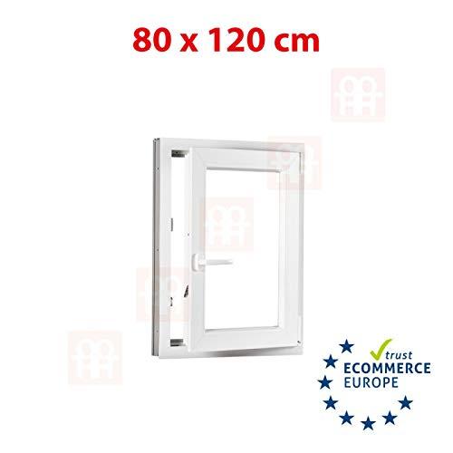 Kunststofffenster | 80x120 cm (800x1200 mm) | weiß | Dreh-Kipp-Fenster | rechts
