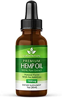 Premium Hemp Oil by Earthtrition - 1500mg Super Strength - 100% Organic Pure Extract, Naturally Reduces Inflammation and Anxiety, Improves Sleep Habits, Helps Stress, Reduces Joint Pain
