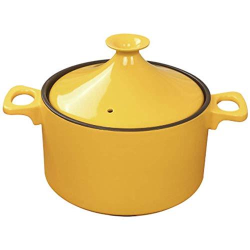 ZHHZ Olla de cerámica de Arcilla sin Plomo Hecha a Mano Original marroquí 23,5 cm Olla de Piedra refractaria de Gas doméstico con Tapa de cerámica, Amarillo