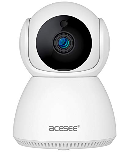 Acesee Cámara Vigilancia WiFi Interior 1080P Cámara IP WiFi/Camara Seguridad con Rotación 360°, Visión Nocturna,Cámara de Mascota,Detección de Movimiento,Audio de 2 Vías, Suporta Nube/MicroSD, 2.4GHz