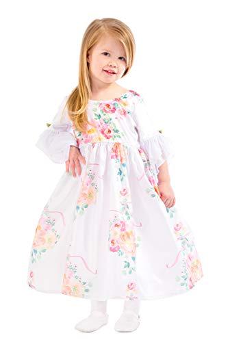 Little Adventures White Floral Beauty Princess Dress Up Costume (Medium Age 3-5)