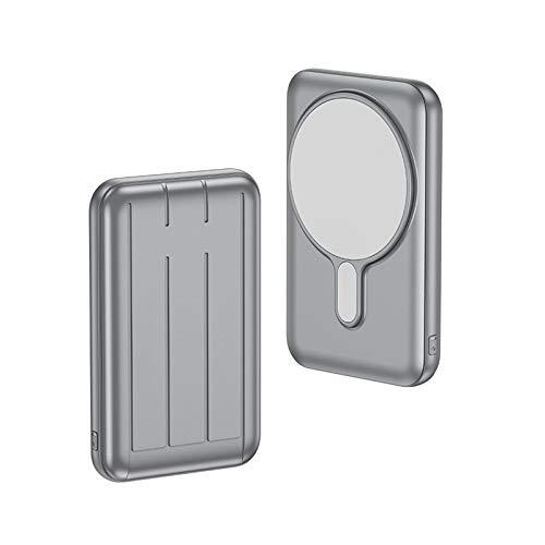 Cargador Inalámbrico Magnético Power Bank 10000mAh Cargador USB C 15W Carga Rápida Batería Externa Portátil para iPhone 12 12 Pro Max (gris)