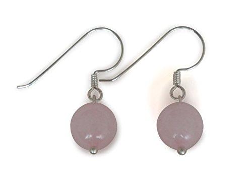 Pendientes de cuarzo rosado, natural, esférico, 10mm, plata de ley 925