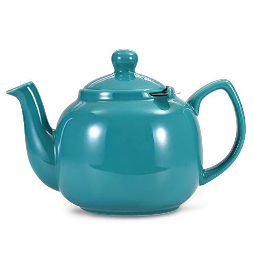 Urban Lifestyle Teekanne/Teapot Klassisch Englische Form aus Keramik Oxford 1,2L mit Teefilter aus Edelstahl (Türkis)