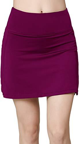 Women's Active Athletic Skirt Sports Golf Tennis Running Pockets Skort Plum XL