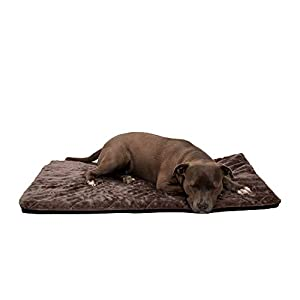 Furhaven Pet Dog Bed Kennel Pad – Orthopedic Water Repellent Quilted Faux Fur Non-Skid Pet Crate or Kennel Foam Mattress Pet Bed with Removable Cover for Dogs and Cats, Espresso, Large