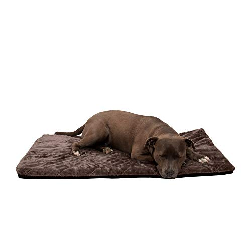 Furhaven Pet Dog Bed Kennel Pad - Orthopedic Water Repellent Quilted Faux Fur Non-Skid Pet Crate or Kennel Foam Mattress Pet Bed with Removable Cover for Dogs and Cats, Espresso, Large