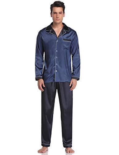 Aibrou Herren Satin Pyjama Set, Zweiteiliger Bedruckt Schlafanzug Langarm Shirt und Pyjamahose Blau L