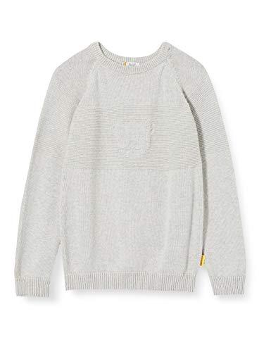 Steiff Jungen mit süßer Teddybärapplikation Pullover, Soft Grey Melange, 092