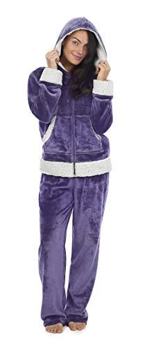 CityComfort Pijama Mujer Invierno, Pijama Mujer De Polar Súper Suave con Capucha, Conjunto de Pijama de Manga Larga Estampado con Animal, Regalos Originales para Mujer