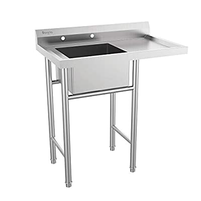 """Bonnlo Upgraded 304 Stainless Steel Utility Sink with Drainboard Commercial Sink for Laundry Room, Backyard, Garages - Inner Tub Size 18""""L x 16"""" W x 9""""D"""