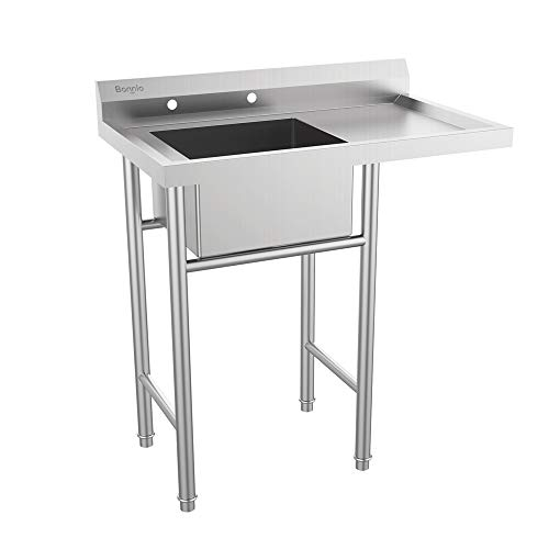 Bonnlo 304 Stainless Steel Utility Sink with Drainboard Commercial Sink for Laundry Room, Backyard, Garages - Inner Tub Size 18