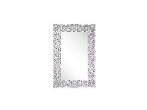 Beliani Specchio da Parete Argentato Rettangolare Accessorio Moderno 60x90 cm MERNEL