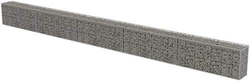 Gabion métallique en acier galvanisé, cage en filet, jardinière pour pierres extérieures, 600 x 30 x 50 cm, jusqu'à 1400 kg/m3