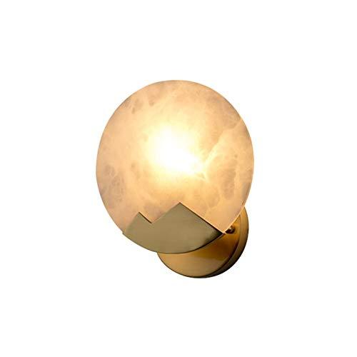 YXLMAONY Lámpara de pared de cobre E14 de una sola cabeza redonda moderna, pantalla de mármol natural creativa y decoración de lámpara de pared interior, adecuada para sala de estar, dormitorio, baño,