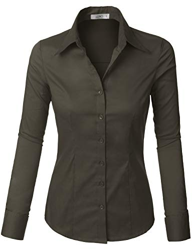 LE3NO Womens Lightweight Button Down Shirt with Stretch Darkgray