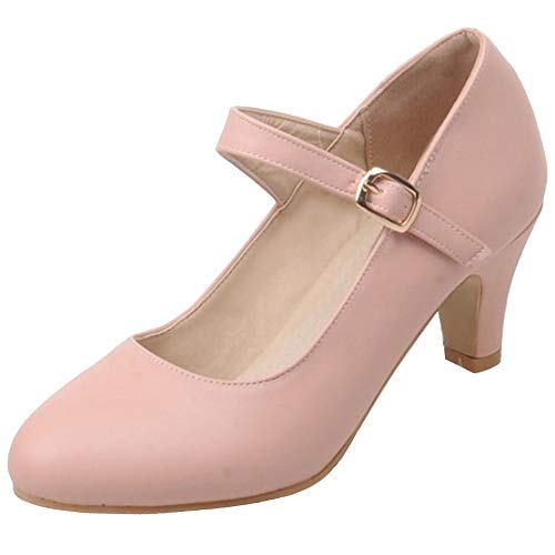 Lydee Mujeres Elegante Medio Ancho Pumps Correa de Tobillo Cone Heels Zapatos...