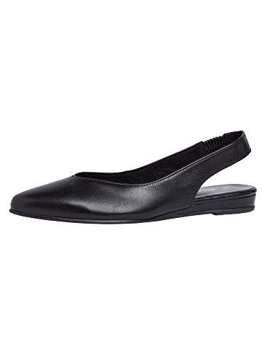 Tamaris Damen Pumps 29406-24, Frauen Sling-Pumps, büro-Pumps bequem elegant weibliche Lady Ladies feminin,Black Leather,39 EU / 5.5 UK