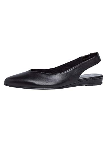 Tamaris Damen Pumps 29406-24, Frauen Sling-Pumps, büro-Pumps bequem elegant weibliche Lady Ladies feminin,Black Leather,39 EU / 5.5 UK
