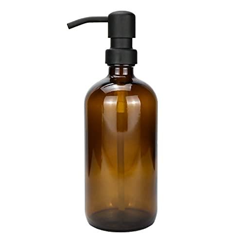 Plomkeest Amber Thick Glass 500ml Glas Seifenspender mit rostfreiem Edelstahlpumpen-Flüssigseifenspender für Badezimmer, Küchendekor