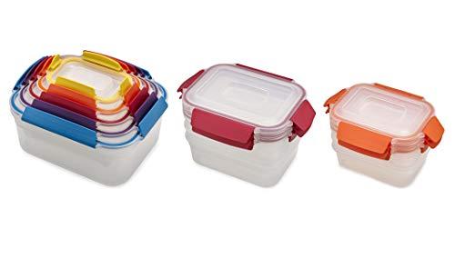 Joseph Joseph Nest Lock Plastic Food Storage Container Set with Lockable Airtight Leakproof Lids, 22-piece, Rainbow
