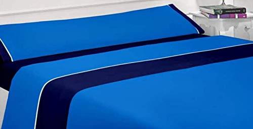 - Nice Colors - Juego Sábanas 3 Piezas 100% Poliester Fabricado España (Azul, 150_x_200_cm)