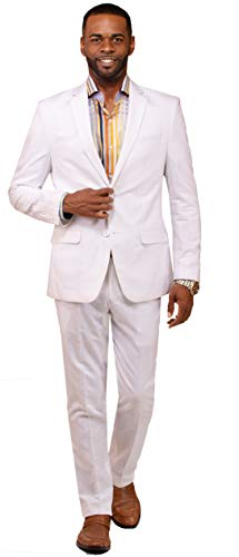 DANNY COLBY Mens Suit Linen for Summer & Wedding Mens Summer Suits White