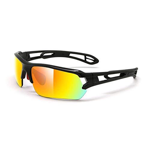 Huayuan Gafas de sol con lentes intercambiables para hombres, mujeres, PC, montura irrompible para ciclismo, correr, pescar, golf, béisbol, gafas, golf, gafas de béisbol, perla, negro claro