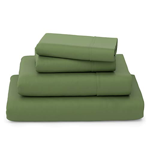 Cosy House Collection Luxury Bamboo Bed Sheet Set - Bedding Blend from Natural Bamboo Fiber - Resists Wrinkles - 4 Piece - 1 Fitted Sheet, 1 Flat, 2 Pillowcases - Queen, Sage Green