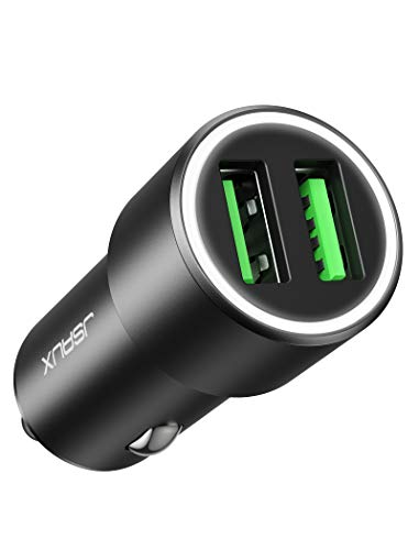 JSAUX Car Charger, Quick Charge 3.0 3A Dual USB Ports 36W Fast Car Adapter Metal Compatible with Samsung Galaxy S10 S9 S8 S20 Plus Note 10 9 8 S7, iPhone Xs Max XR X 8 7 6, LG G6 V20, Moto Black