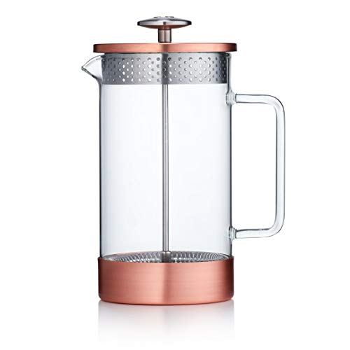 Barista & Co Core Plastic Free Sustainable French Press Cafetiere Coffee Maker, 8 Cup / 3 Mug / 1L, Copper