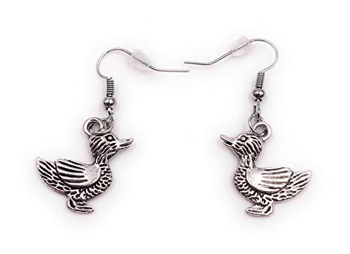 Onlineworld2013 Ohrringe Paar Ente mit Muster Ohrring aus Metall Ohrschmuck