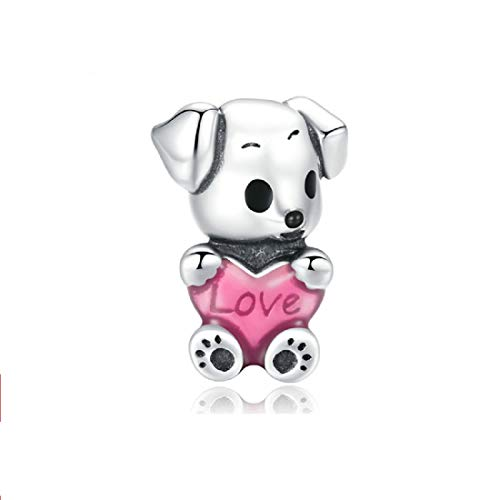 FeatherWish I Love My Puppy Dog Pet Animal With Love Heart 925 Sterling Silver Bead Charm Compatible With Pandora Bracelet