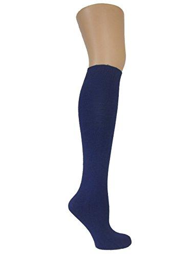 Chapini®, kniehohe Socken für Damen & Mädchen, aus weicher Baumwolle, einfarbig, Größe: 37 - 42 Gr. Einheitsgröße, navy