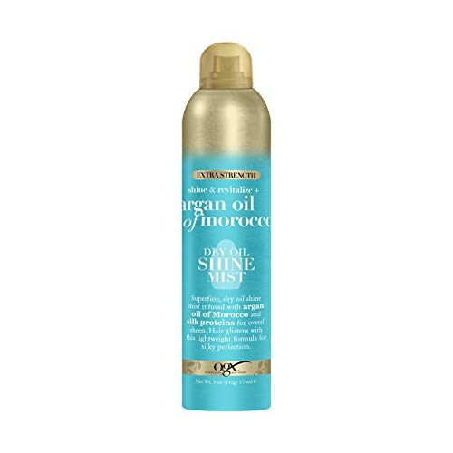 OGX Revitalize + Argan Shine Extra Strength Dry Oil Conditioning Mist with Argan Oil & Silk Proteins, Light Nourishing Hair Treatment to Soften Hair & Add Luminous Shine, 5 Ounce